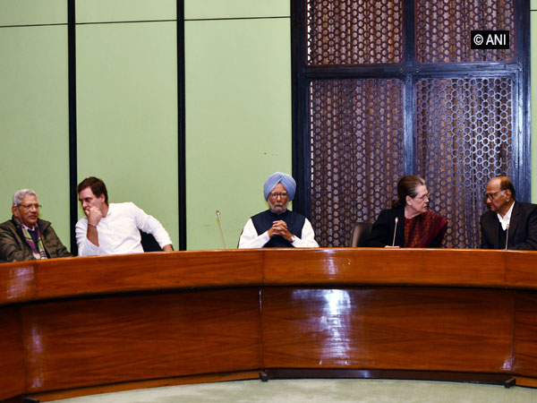 Opposition leaders taking part in a meeting in New Delhi on Monday.