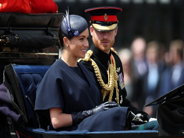 Britain's Prince Harry and Meghan, Duchess of Sussex taking part in the Trooping the Colour parade in central London on Saturday.