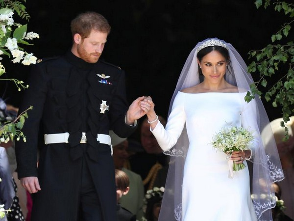 Meghan Markle and Prince Harry leave St George's Chapel at Windsor Castle following their wedding