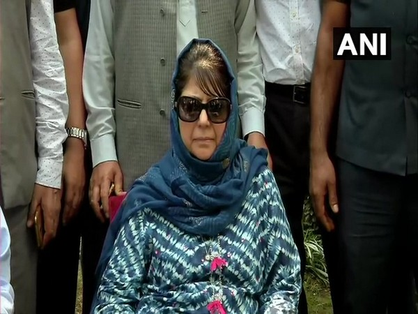Peoples Democratic Party (PDP) chief Mehbooba Mufti speaking to reporters.