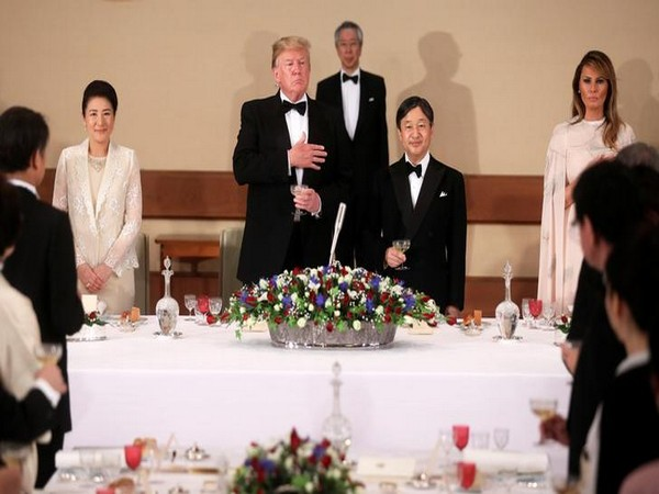 US President Donald Trump, Japan's Emperor Naruhito, Empress Masako and first lady Melania Trump at the Imperial Palace in Tokyo on Monday