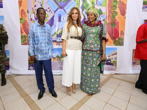 Dr Rasha Kelej and Djene Condé with Dr Edouard Nyankoye Lamah during their visit to the first ever fertility centre in the country.