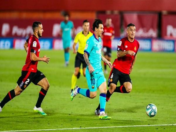 Barcelona striker Lionel Messi in action against Mallorca. (Photo/Barcelona Twitter)