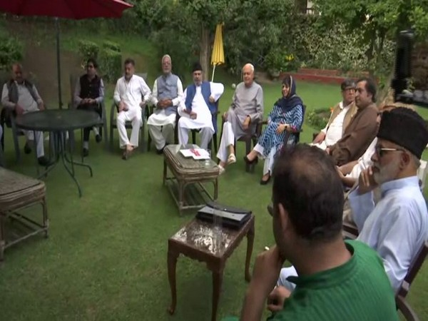 An all-party meeting was convened at the residence of Farooq Abdullah on Sunday. Photo/ANI