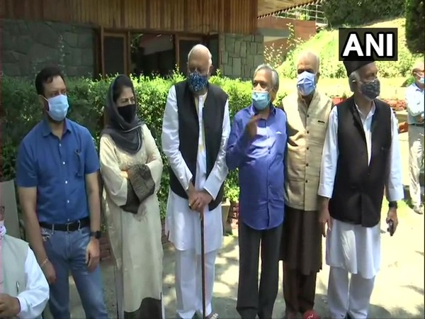 Leaders of PAGD at former Chief Minister Farooq Abdullah's residence in Srinagar on Tuesday (Photo/ANI)