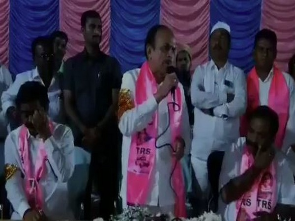 Telangana Home Minister Mohammed Mahmood Ali addressing a crowd in Hyderabad, Telangana. (Photo/ANI)
