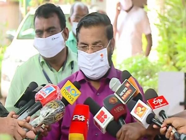 Kerala Devaswom Minister Kadakampally Surendran talking to reporters on Sunday.