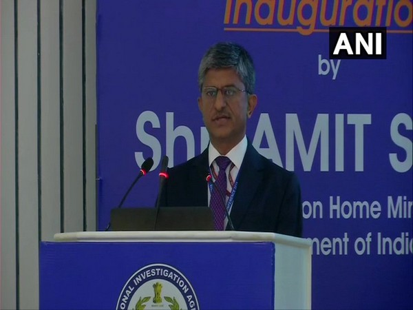 Inspector General (IG), NIA, Alok Mittal speaking at the event in New Delhi on Sunday. photo/ANI