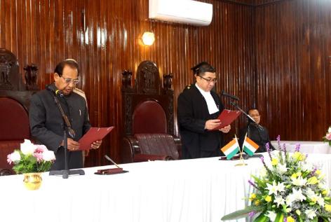 Prof Jagdish Mukhi being sworn in as Governor of Mizoram. [Photo/ANI]