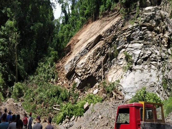 A visual of landslide at a quarry on Hlimen Samtland Road in Aizawl on Monday. (Photo/ANI)