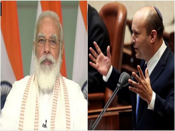 Prime Minister Narendra Modi and new Israeli PM Naftali Benett