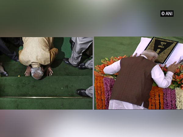 PM Narendra Modi while entering Parliament in 2014 (left) and bowing infront of the Constitution in 2019 (right)