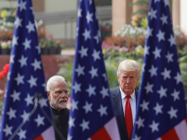 Prime Minister Narendra Modi and US President Donald Trump at their joint news conference at Hyderabad House in New Delhi.