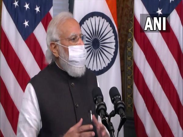 Prime Minister Narendra Modi addressing a joint press conference with US Vice President Kamala Harris on Thursday.