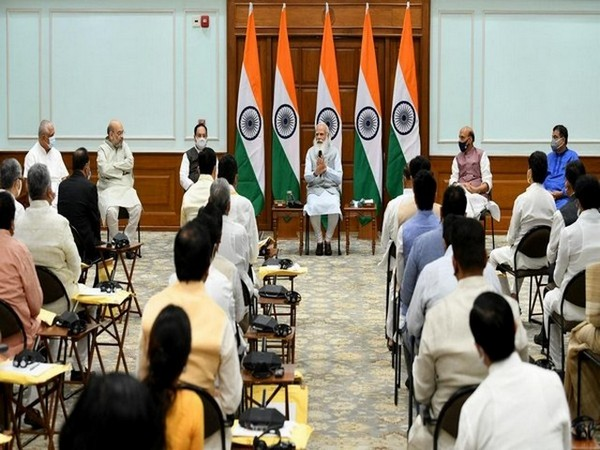 Visual from Prime Minister Narendra Modi's meeting at Lok Kalyan Marg with leaders, before cabinet expansion, in New Delhi on Tuesday.