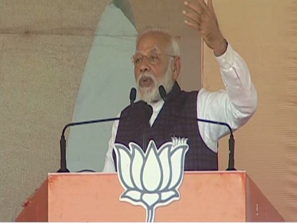 Prime Minister Narendra Modi speaking at an election rally in New Delhi on Tuesday. Photo/ANI