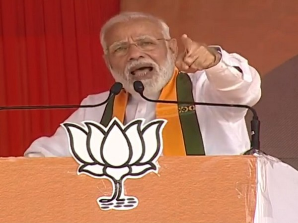 Prime Minister Narendra Modi speaking at an election rally in Sirsa, Haryana, on Saturday. Photo/ANI