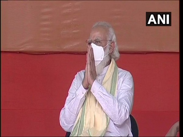 PM Narendra Modi at an election rally in Bhagalpur, Bihar on Friday. [Photo/ANI]