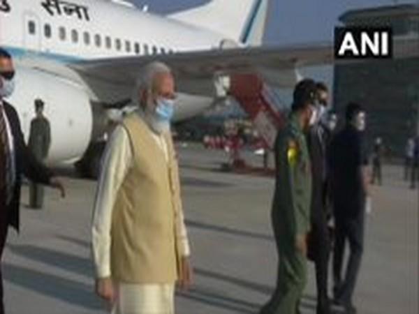 Prime Minister Narendra Modi at the Chandigarh airport on Saturday. Photo/ANI
