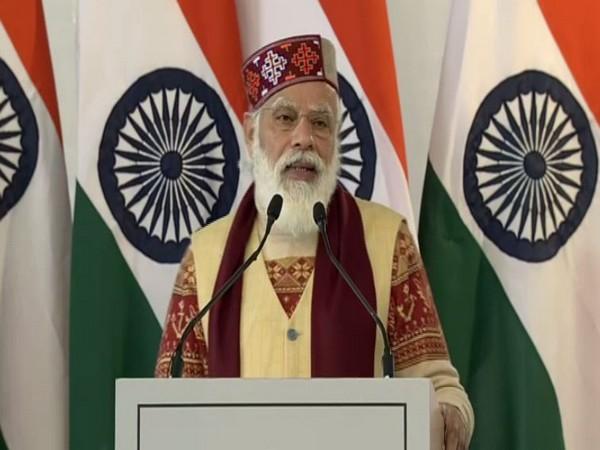 PM Narendra Modi speaking at the event in Manali on Saturday. Photo/ANI