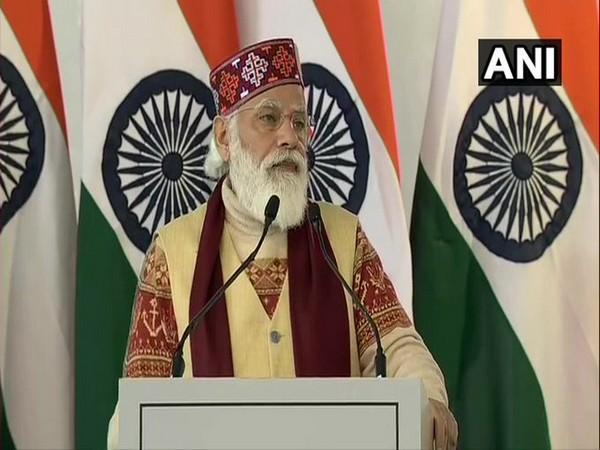 Prime Minister Narendra Modi speaking in Manali on Saturday. Photo/ANI