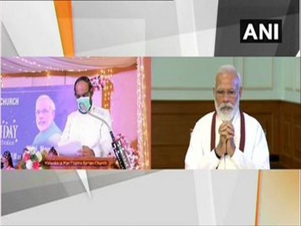 PM Narendra Modi takes part in 90th birth anniversary celebrations of Reverend Dr Joseph Mar Thoma Metropolitan. [Photo/ANI]