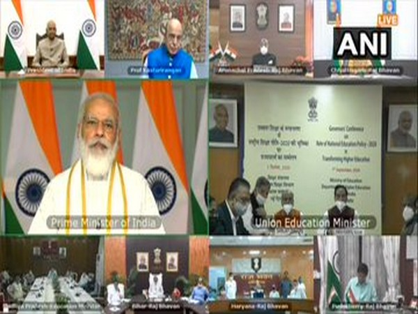 Visual from the Governor's Conference on NEP being held through video conferencing on Monday. [Photo/ANI]