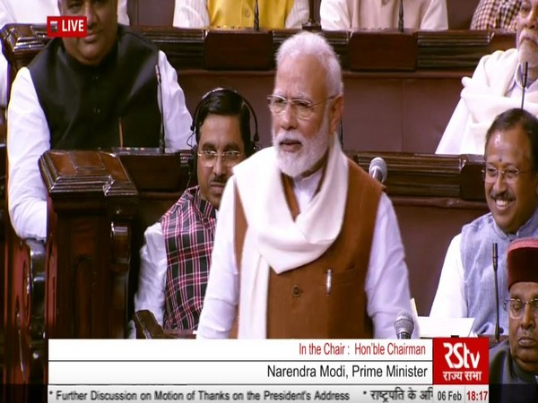 Prime Minister Narendra Modi speaking in the Rajya Sabha on Thursday. Photo/RSTV