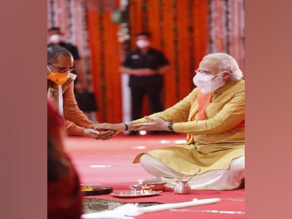 PM Narendra Modi during the bhoomi pujan at Ram temple site, Ayodhya on Wednesday.