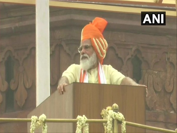 Prime Minister Narendra Modi addressing the nation on Independence Day from the Red Fort, New Delhi on Saturday. Photo/ANI