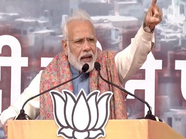 Prime Minister Narendra Modi speaking at the rally in Ramlila Maidan on Sunday. Photo/ANI