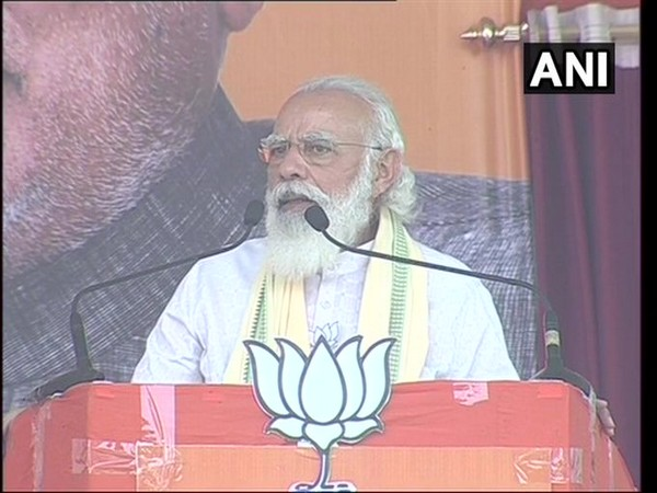 PM Narendra Modi speaking at the rally in Sasaram, Bihar on Friday. [Photo/ANI]