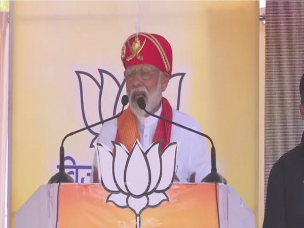 Prime Minister Narendra Modi addressing an election rally in Chittorgarh, Rajasthan on Sunday. Photo/ANI