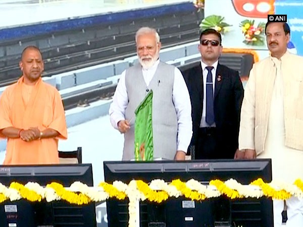 Prime Minister Narendra Modi inaugurating Delhi Metro's Blue Line extension on Saturday  in Noida.