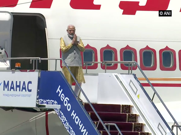 PM Narendra Modi alighting from the special aircraft at the Bishkek airport on Thursday. (ANI/Photo)