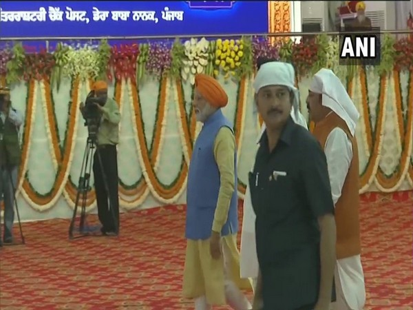 Prime Minister Narendra Modi arrives at Dera Baba Nanak in Punjab's Gurdaspur district on Saturday.