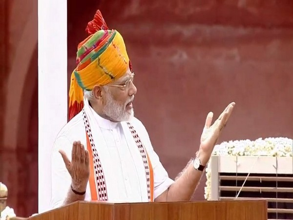 PM Modi addressing the nation from the Red Fort on the 73rd Independence Day on Thursday. (Photo/ANI)