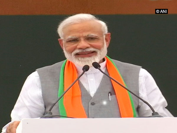 Prime Minister Narendra Modi speaking at the BJP's manifesto launch in New Delhi on Monday. Photo/ANI