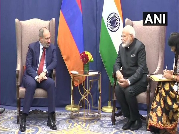 Prime Minister Narendra Modi and his Armenian counterpart Nikol Pashinyan in New York on Wednesday.