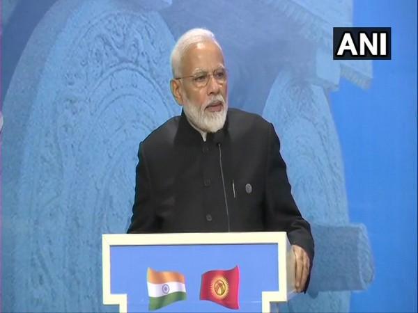 PM Narendra Modi addressing at the India-Kyrgyzstan Business Forum in Bishkek on Friday.