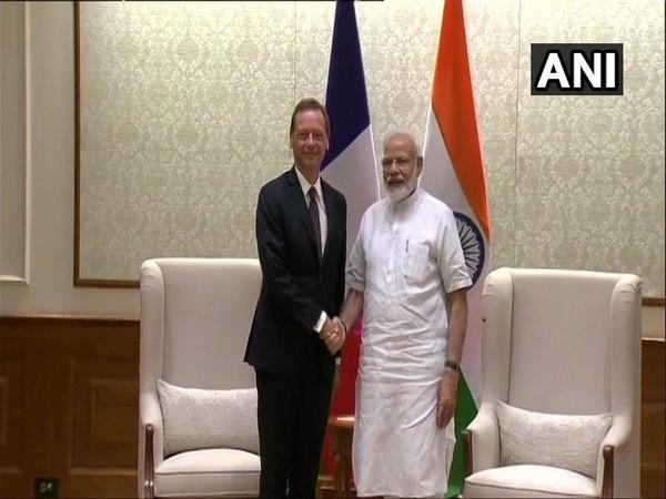 France's NSA Emmanuel Bonne meets Prime Minister Narendra Modi in Delhi on Thursday.
