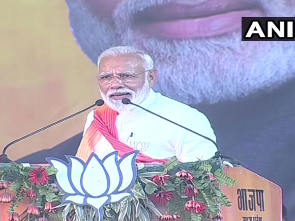 Prime Minister Narendra Modi addressing a public rally in Gwalior on Sunday.
