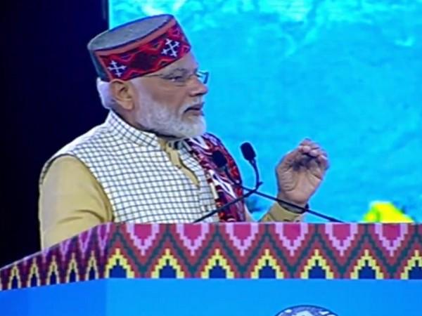 Prime Minister Narendra Modi speaking at the Himachal Pradesh Global Investors' meet in Dharmshala on Thursday. Photo/ANI