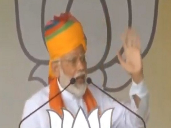 Prime Minister Narendra Modi while addressing an election rally in Rajasthan's Bikaner on Friday. Photo/ANI