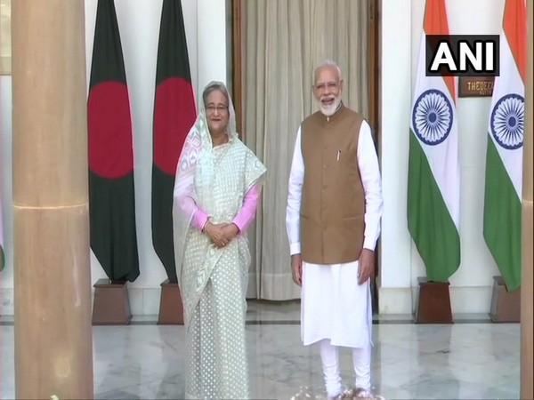 Bangladesh Prime Minister Sheikh Hasina along with Prime Minister Narendra Modi in New Delhi on Saturday. Photo/ANI
