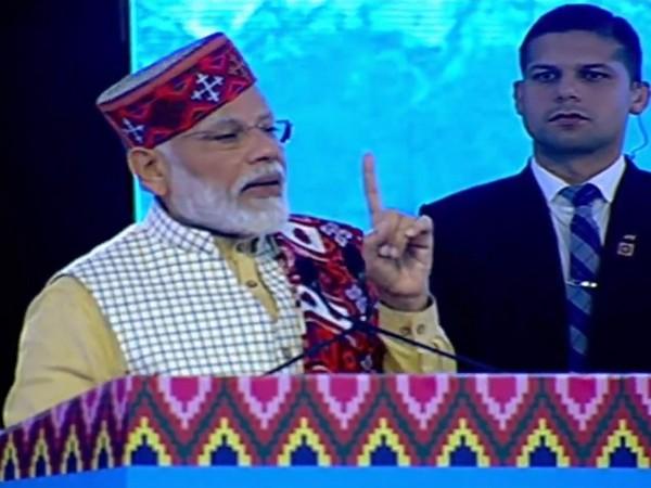 Prime Minister Narendra Modi addressing the Himachal Pradesh Global Investors meet in Dharmshala on Thursday. Photo/ANI