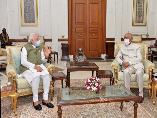 Prime Minister Narendra Modi calls on President Ram Nath Kovind at Rashtrapati Bhavan on Sunday.
