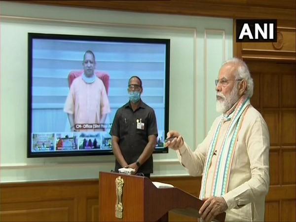 Prime Minister Narendra Modi launched 'Atma Nirbhar Uttar Pradesh Rojgar Abhiyan' on Friday. (Photo/ANI)