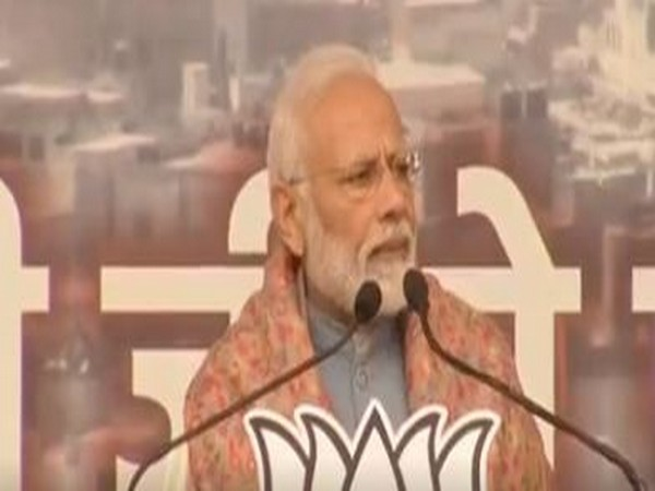 Prime Minister Narendra Modi addressing a rally at Ramlila Maidan in Delhi on Sunday. (Photo/ANI)