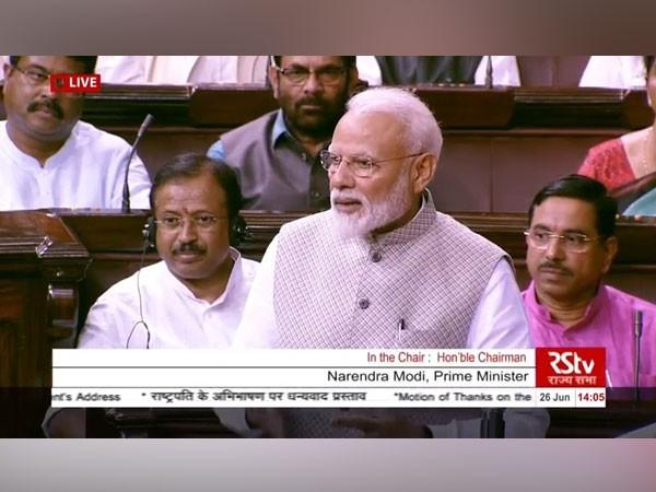 Prime Minister Narendra Modi addressing at the Rajya Sabha on Wednesday. (Picture Source: Rajya Sabha TV)